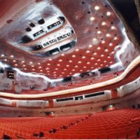 The interior of the NIssay Theatre, designed by renowned Japanese architect Togo Murano.