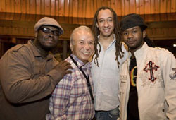 Sadao Watanabe (center left) with his backing band: (from left) Johnathan Blake, Gerald Clayton and Ben Williams