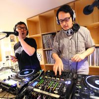 On air: DJ Taku Takahashi (left) and DJ Takeru 'John' Otoguro man the decks at TCY Radio, an online station based in Tokyo | CHIEKO KATO PHOTO