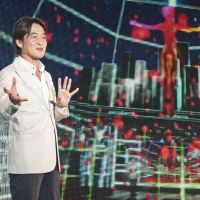Virtual venue: Takeshi Natsuno, managing director at Dwango, explains the features of Nico Nico Douga's new Nicofarre venue. | ALEXIS WUILLAUME PHOTO