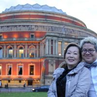 Second act: Japanese singer Saori Yuki poses with Pink Martini leader Thomas Lauderdale in front of the Royal Albert Hall in London.