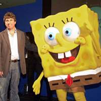 Spongebob Squarepants and his director, Stephen Hillenburg, acknowledge fans at last year's Tokyo International Anime Fair.