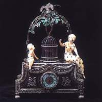 Miniature Singing Bird in Cage with Clock (c. 1840) Switzerland