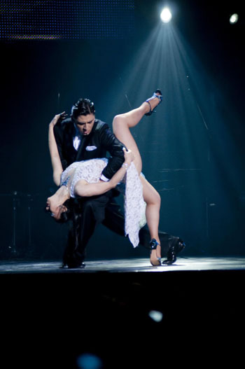 It takes two: Diego Ortega dances with Chizuko Maruyama during a tango performance.
