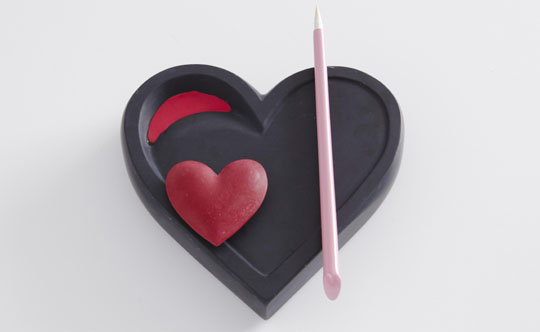 A lot of heart: 'Massive Pink' by Kaname Okajima is a heart-shaped ink stone usually used for calligraphy that comes complete with a pink brush and pink ink.