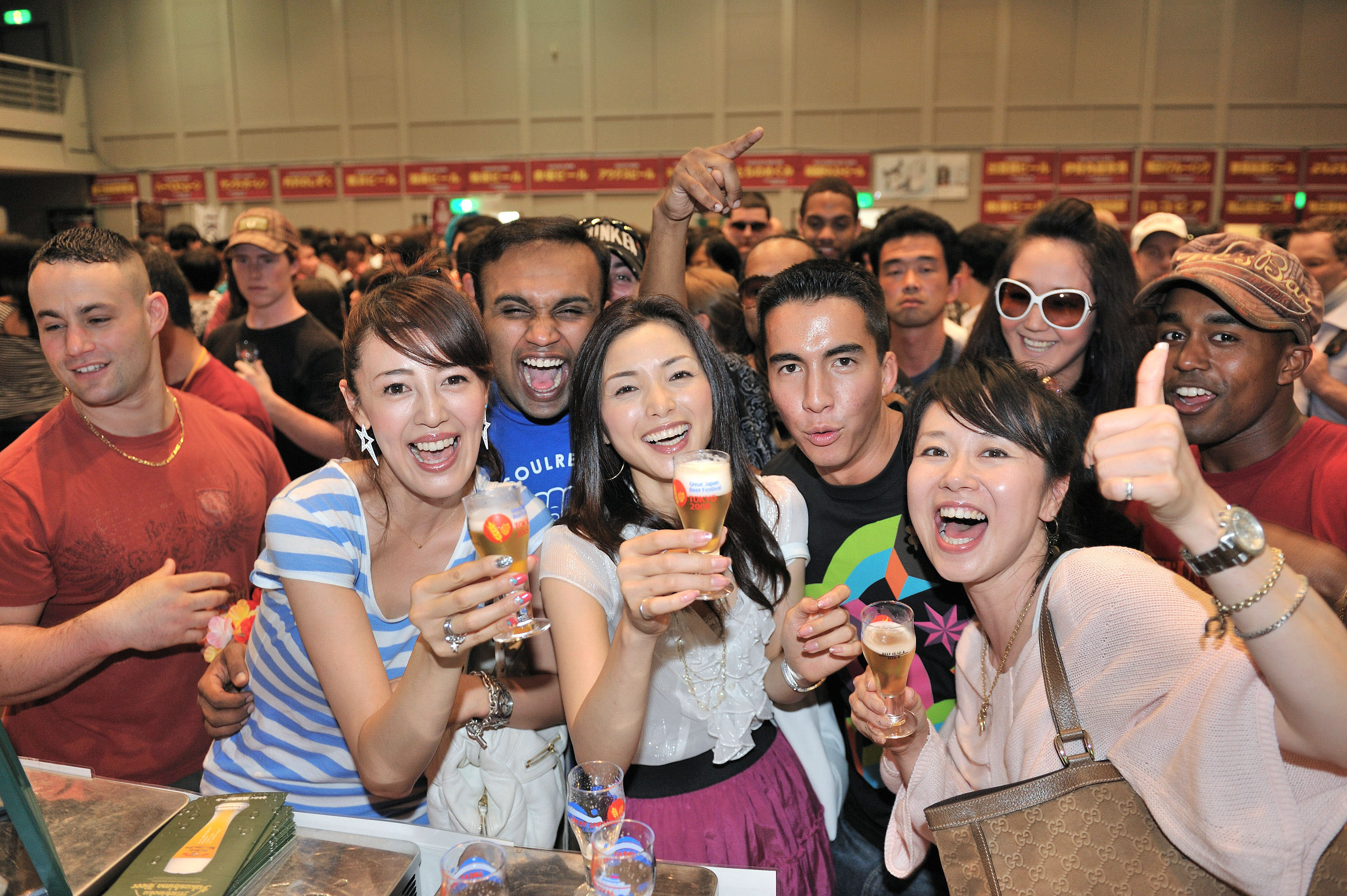 Down the hatch: A group of attendees try out a variety of brews at the 2009 edition of the Great Japan Beer Festival in Yokohama.