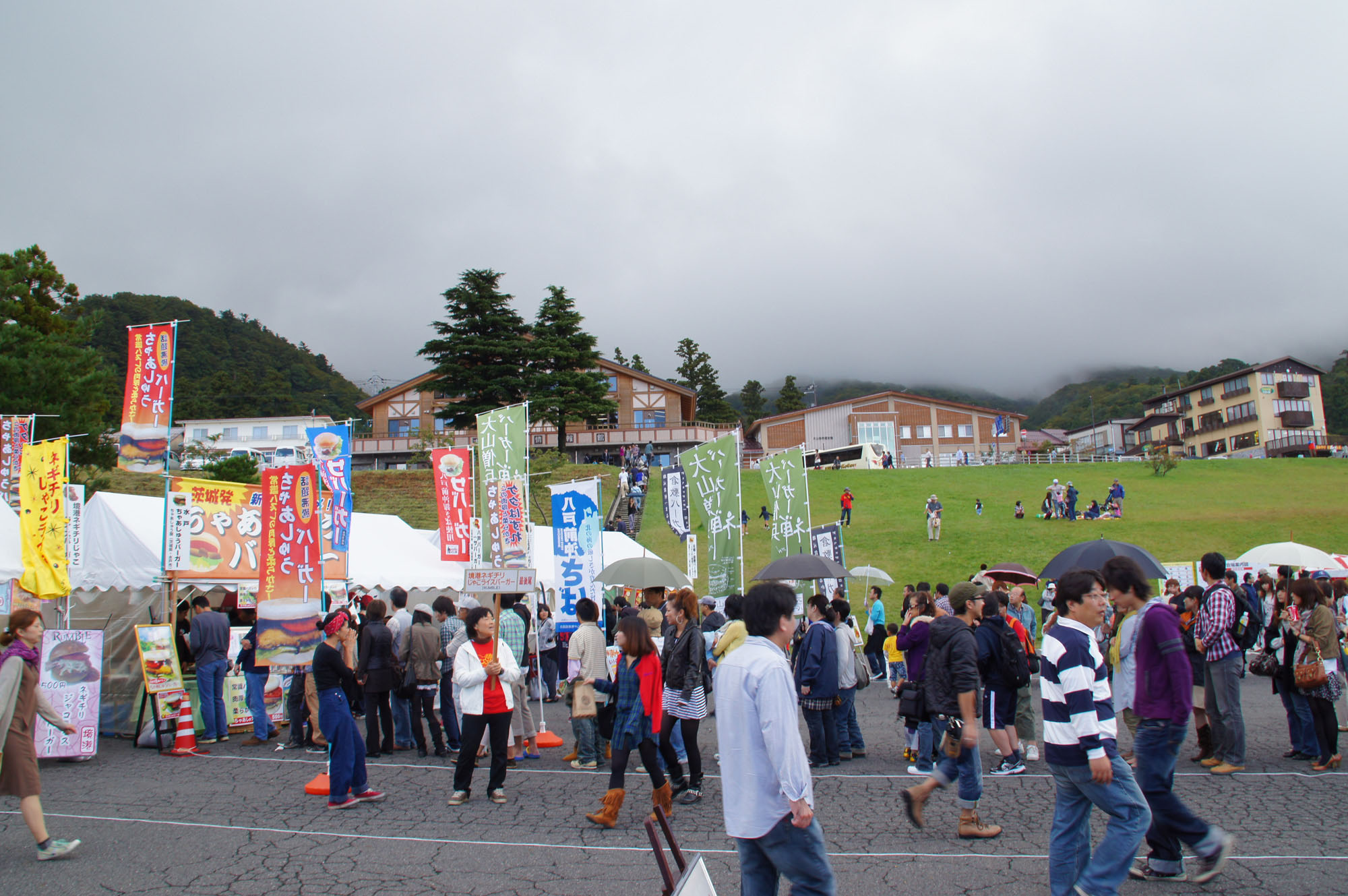 Burger time: People gather to taste the fare at the Tottori Burger Festa.