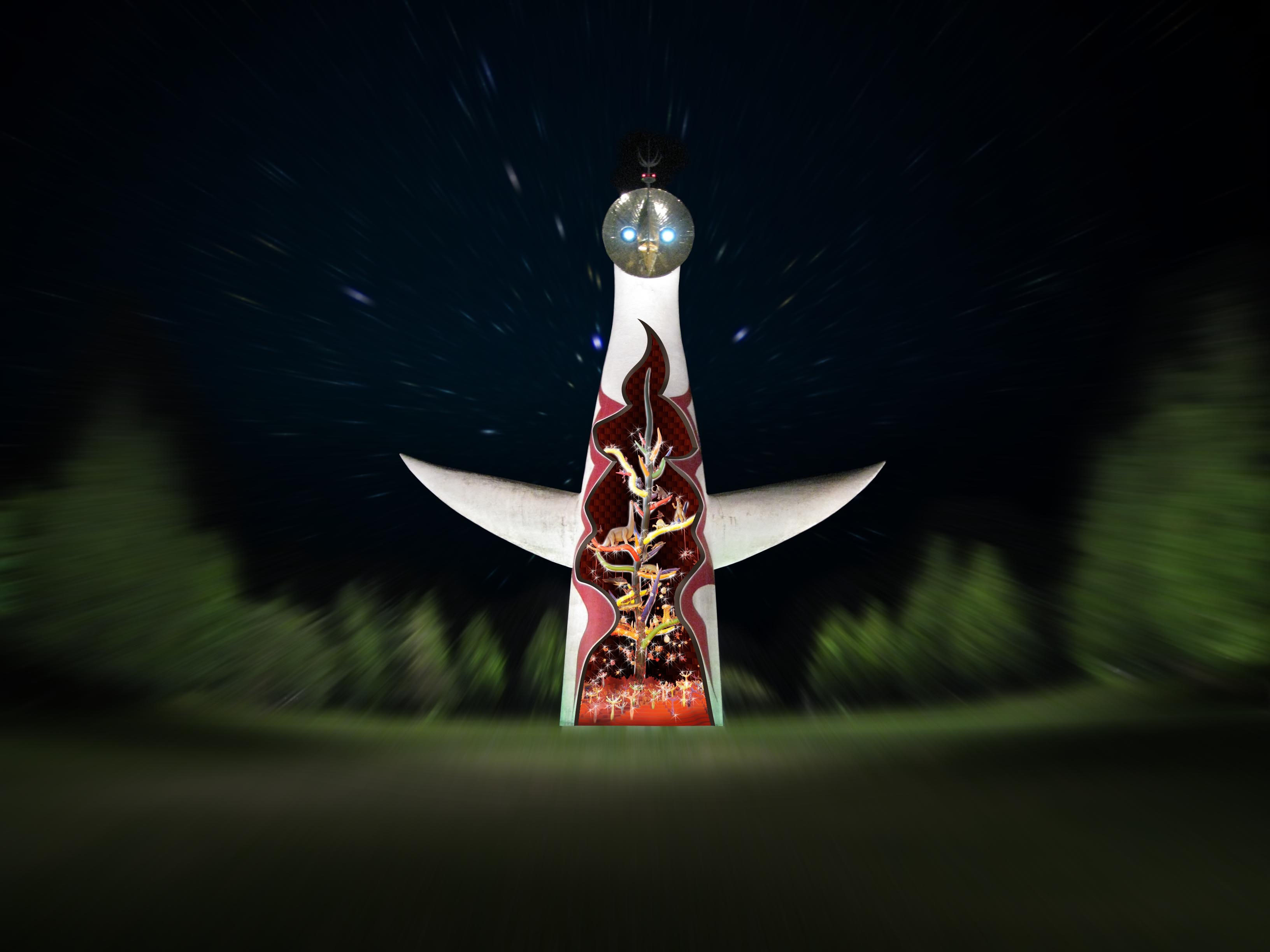 Holiday tower: Artist Taro Okamoto's 'Tower of the Sun' in Osaka gets decorated with animated projections this holiday season.