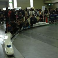 All aboard: Children ride a toy bullet train at last year's Tetsudo Festival in Nagoya.