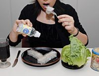 Red wine, nigari (bittern), agar, lettuce and cocoa -- shown here -- are among the foodstuffs whose popularity skyrocketed after being featured in ubiquitous 'health information' programs on TV.   YOSHIAKI MIURA PHOTO
