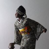 Worlds collide: Tokyo-based Serge Mouangue has matched fabrics from his home continent of Africa with Japanese dress to come up with the Wafrica kimono. More than fashion, the designer is interested in the exploration of cultures. | YUJI ZENDOU PHOTOS