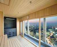 High altitude hot air: The Spa at Mandarin Oriental features treatment suites, an infinity pool and a sauna (above) with stunning views of Tokyo's urban sprawl. It is just one of many new facilities offering high-end relaxation treatments.
