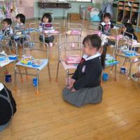 Children at Shin Yoshida Kindergarten give thanks before saying the Japanese phrase 'itadakimasu!' and tucking into their bento, which are packed with foods (as pictured below) lovingly prepared by their parents. | MAKIKO ITOH