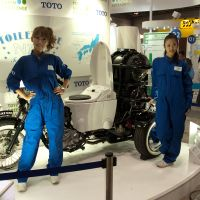 Toto's Toilet Bike Neo uses bio-gas fuel derived from livestock waste. | MATTHEW HOLMES PHOTOS