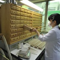 kanpō advocates: A pharmacist at Kitasato University Oriental Medicine Research Center in Minato Ward, Tokyo, takes crushed herb leaves from drawers. | YOSHIAKI MIURA