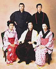 Fumiyo Kohinata as Hikoma Kanda (front, center) and cast members of 'Hikoma the Hero'