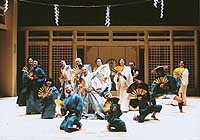 Opening with a look at mid-19th century Japan (above), then a closed country, Stephen Sondheim's 'Pacific Overtures' romps through the arrival of foreign dignitaries (below) who torment the hapless shogun (Ben Hiura).