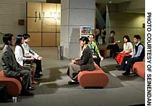 Cast members of 'Tokyo Notes,' which is being staged in the Museum of Contemporary Art, Tokyo