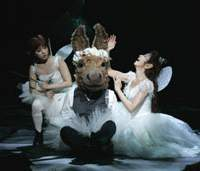 Bottom as a donkey (Yoshimura Sunao) and two fairies (Sayaka Kanda and Asami Rei) in 'A Midsummer Night's Dream' (top); the cast of 'Les Miserables' (center); and Takeshi Kaga and Kimiko Yo in 'Kinshu' (above). | MASAHIKO YAKOU (top), TOHO (center), JUN NISHIMURA (above) PHOTOS