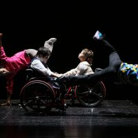 Scenes from Ryohei Kondo's summer dance program in which he choreographed performers with disabilities.