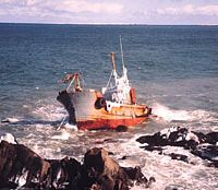 A wrecked trawler is seen on rocks at the very tip of Cape Nosappu, east of Nemuro City