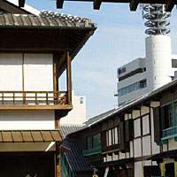 Buildings on Dejima, the first home for foreign traders in Japan