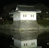 A castle turret reflected in the moat
