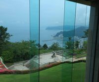 A view of Atami harbor from the main lobby of the MOA museum