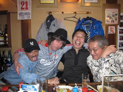 Gaijin in the house: After a battle at Himeji Castle, it's a joy to be welcomed like an old friend at Izakaya Kei (from left: Katsuki Ikeda, Simon Bartz, Yasuaki Kishino and another guest). Below: Kei's charming owner Izumi Hasegawa. | SIMON BARTZ