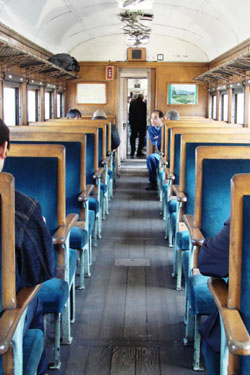 Blue velvet: The old-fashioned interior of an Oigawa Railway Company train. | MANDY BARTOK PHOTO
