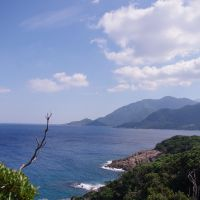 Mountain greenery: The forested hills of Yakushima plunge into the East China Sea.