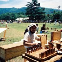 Easy does it: Vendors and visitors at an early Crafts Fair.   CRAFTS FAIR MATSUMOTO