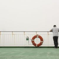 People-watching on a ferry in the fog