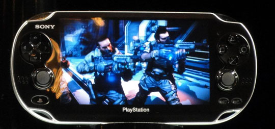 Secret weapon: Sony's new hand-held game console, code-named the Next Generation Portable, is displayed after the PlayStation Meeting 2011 event in Tokyo. | KAZUAKI NAGATA PHOTO