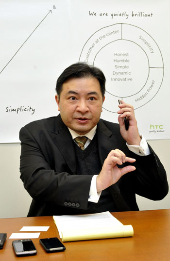 Get smart: David Kou, country manager of HTC Nippon, is interviewed at his office in January. | YOSHIAKI MIURA PHOTO