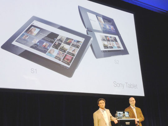 But not least: Kunimasa Suzuki, deputy president of Sony's Consumer Products and Services Group, and Andy Rubin, senior vice president at Mobile Google Inc., show off Sony's new tablet computers during a Tuesday press event in Tokyo. | KAZUAKI NAGATA