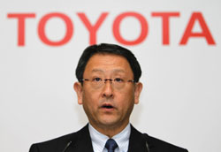 Bad tidings: Toyota Motor Corp. President Akio Toyoda speaks during a news conference in Tokyo Wednesday. | AP