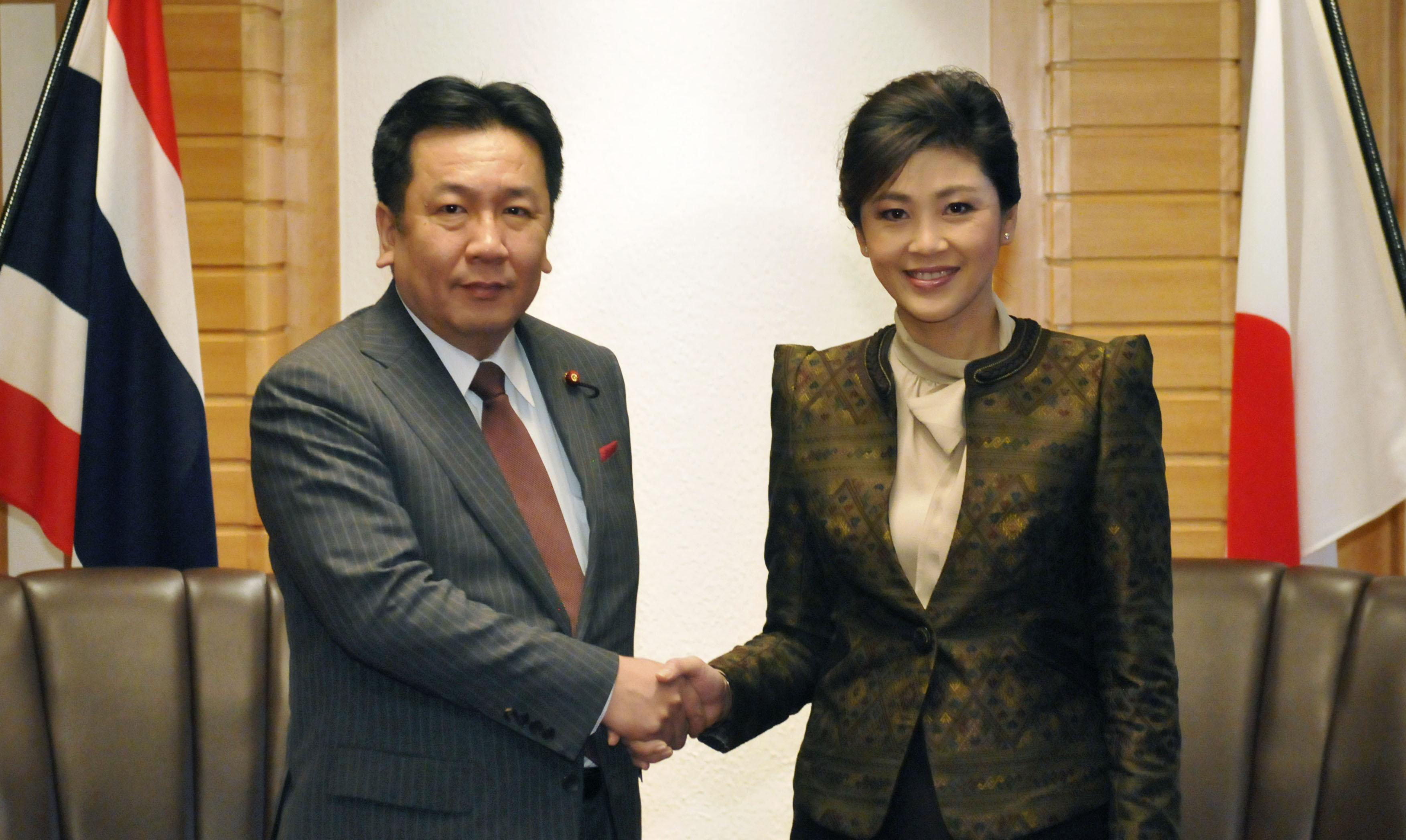 Thai-up: Prime Minister Yoshihiko Noda and Thai Prime Minister Yingluck Shinawatra meet Wednesday in Tokyo. | KYODO