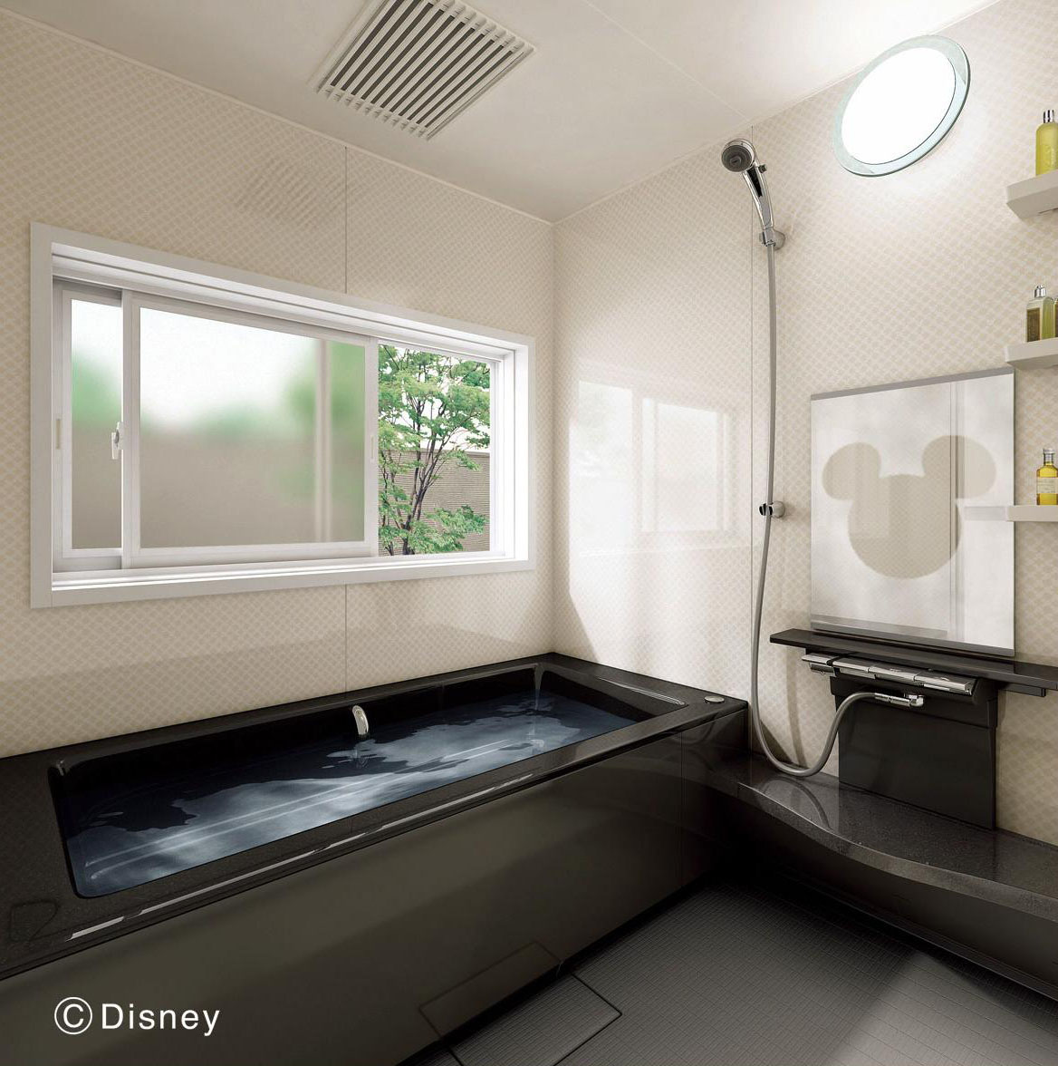 Omnipresent: A shaded Mickey Mouse is seen in the mirror of a Panasonic Corp.-designed bathroom. | PANASONIC CORP. / KYODO