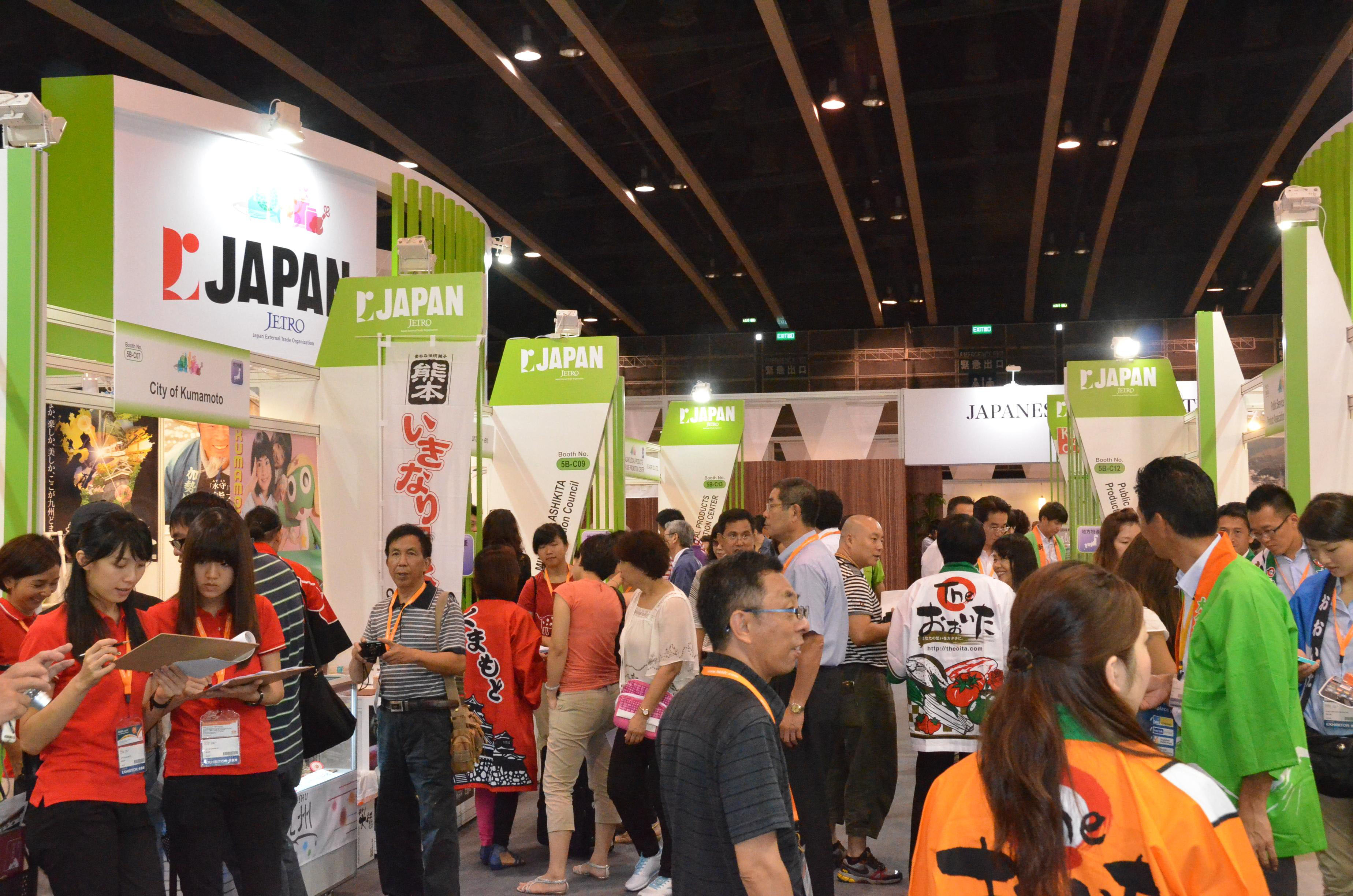 Eating it up: The Japan booth at Food Expo 2012 draws visitors at the start of the five-day fair Thursday in Hong Kong. | KYODO