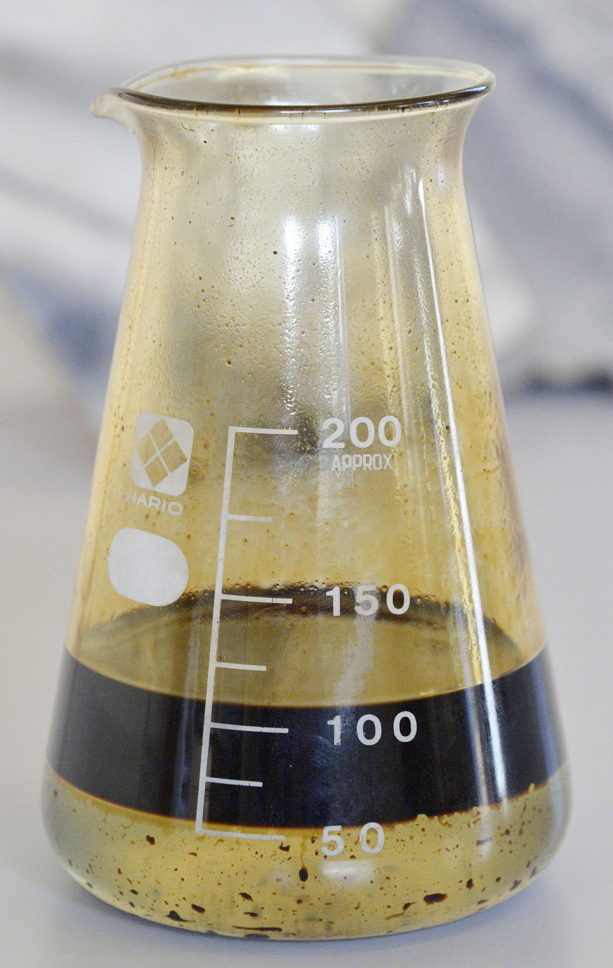 Black gold:  This shale oil was extracted in  Yurihonjo, Akita Prefecture. | KYODO
