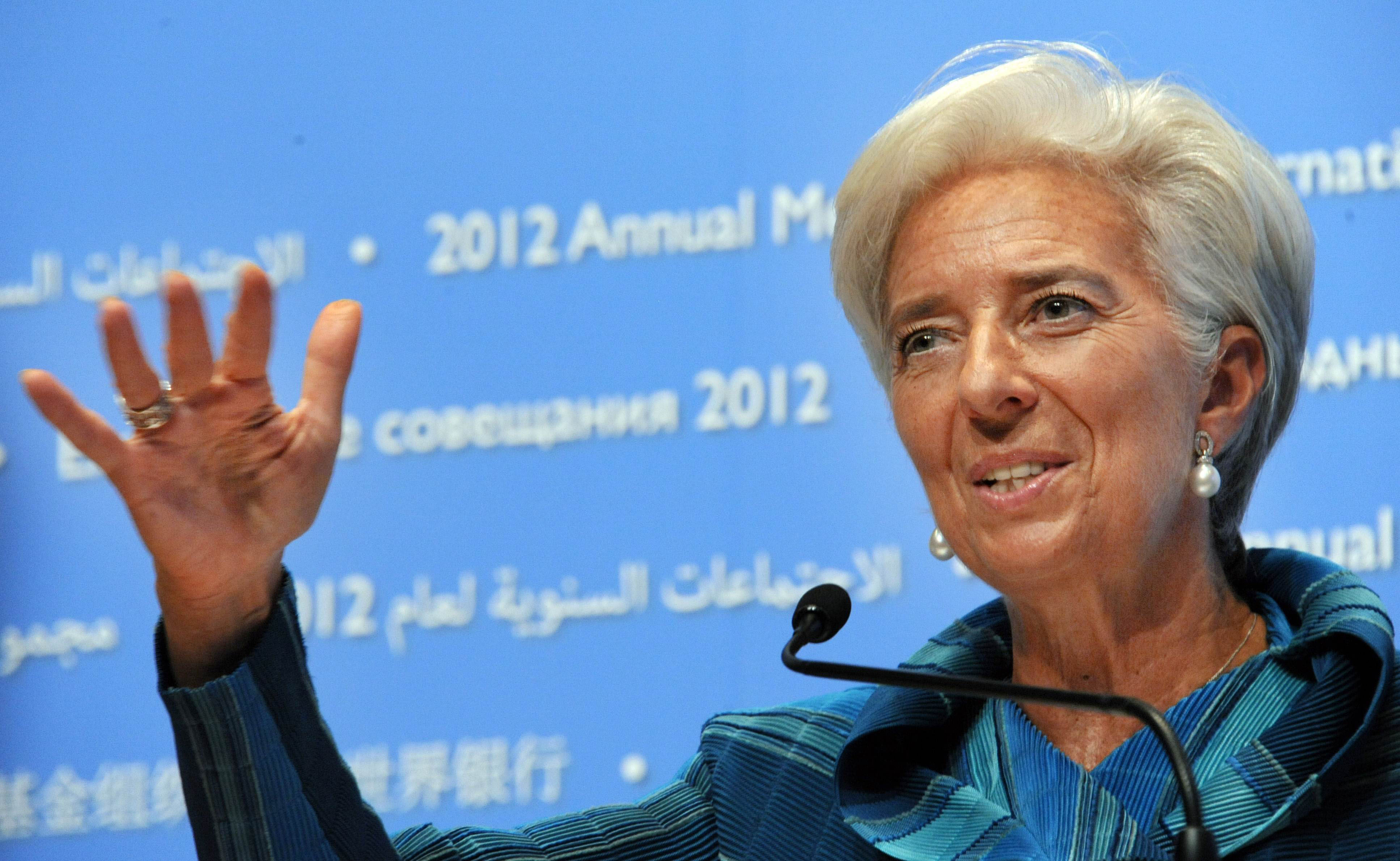 Guiding hand: IMF Managing Director Christine Lagarde attends a news conference Thursday in Tokyo. | AFP-JIJI