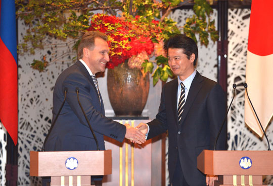 Looking Far East: Russian First Deputy Prime Minister Igor Shuvalov and Foreign Minister Koichiro Genba make joint statements Tuesday at the Iikura guesthouse in Tokyo. | AFP-JIJI