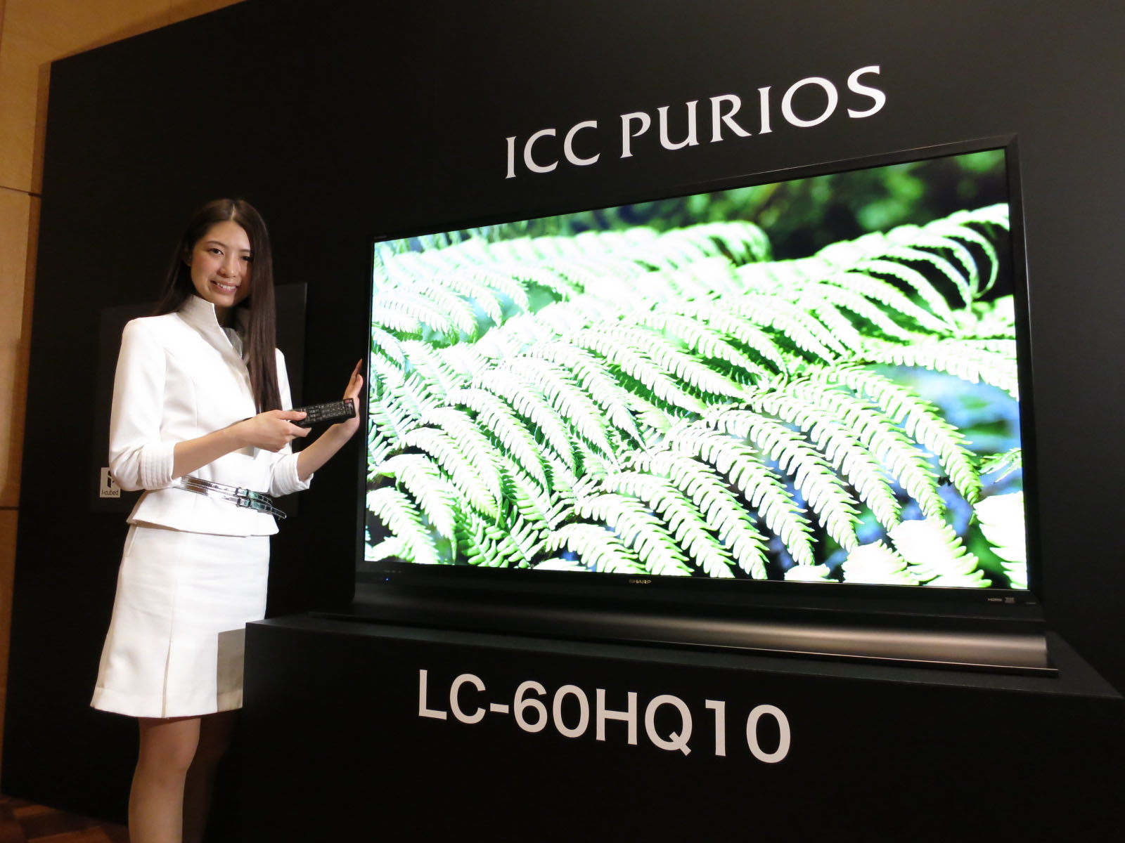 Latest and greatest: A model shows off Sharp Corp.'s 60-inch ICC Purios TV Thursday in Minato Ward, Tokyo. | KAZUAKI NAGATA