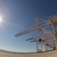 Bulging berth: Four new cranes shipped from China sit at the Port of Baltimore in Maryland in October 2012. The 400-foot (120-meter) cranes will make the site one of only two East Coast ports that can accommodate the largest ships able to navigate the widened Panama Canal. | BLOOMBERG