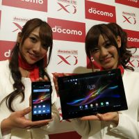 Spring is in the air: Two of NTT DoCoMo's new products — the Sony Xperia Z smartphone and Xperia Tablet Z — are unveiled in Tokyo on Tuesday. The smartphone will go on sale on Feb. 9 and the tablet in mid-March. | KAZUAKI NAGATA