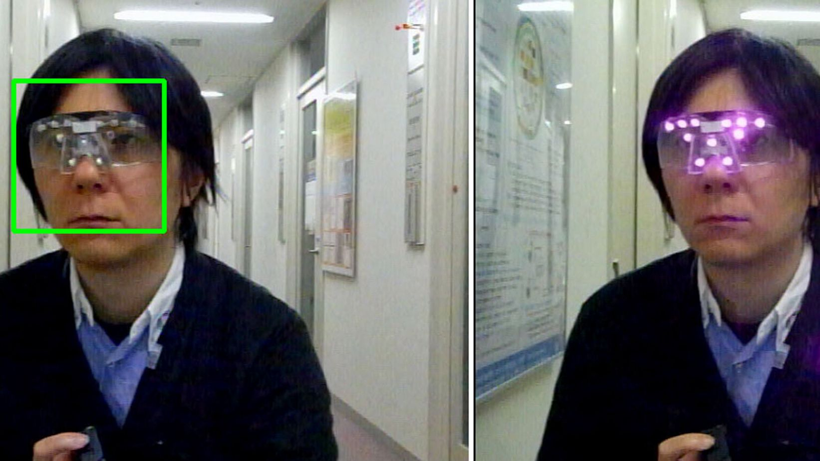 Anonymity: The 'privacy visor' emits near-infrared light (right) to confuse facial recognition cameras.  When it's off (left), his image is captured, as indicated by the square frame surrounding the model's face. | ISAO ECHIZEN / AFP-JIJI