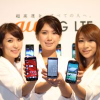 Screen gems: The winter 2012 lineup of handsets from Japanese cell network au includes plenty of smartphones, which are getting bigger screens just as tablets are becoming smaller — so blurring the boundary lines between them. | RICK MARTIN