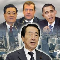 Power brokers: For Prime Minister Naoto Kan, 2011 will be full of diplomatic challenges with China, led by President Hu Jintao, and Russia, led by President Dmitry Medvedev. Experts say the key to overcoming these obstacles is a firm alliance with the United States, led by President Barack Obama. | KYODO PHOTO