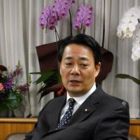 On commerce: Trade minister Banri Kaieda is interviewed in Tokyo on Tuesday. | KAZUAKI NAGATA PHOTO